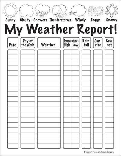 my weather report worksheet printables scholastic parents. Black Bedroom Furniture Sets. Home Design Ideas