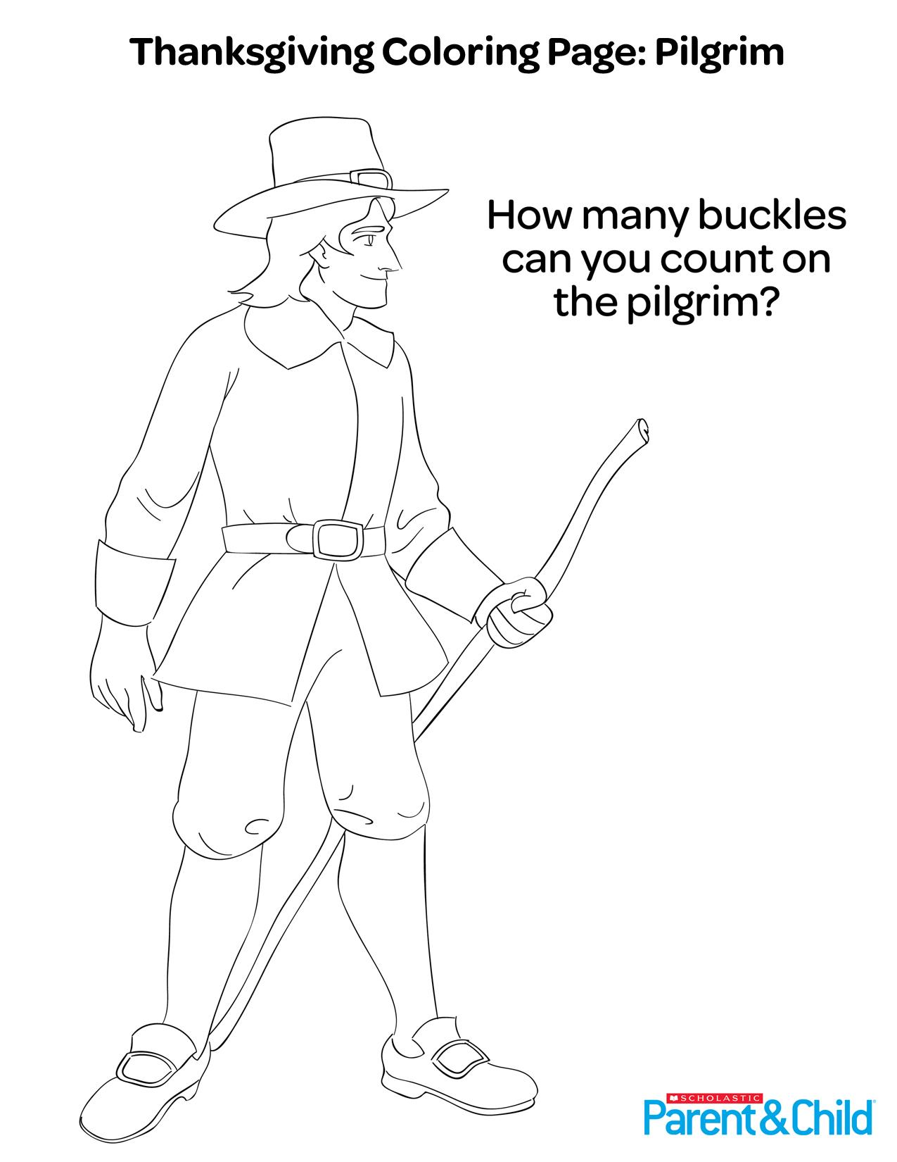Thanksgiving Printable Coloring Page: Pilgrim | Scholastic | Parents