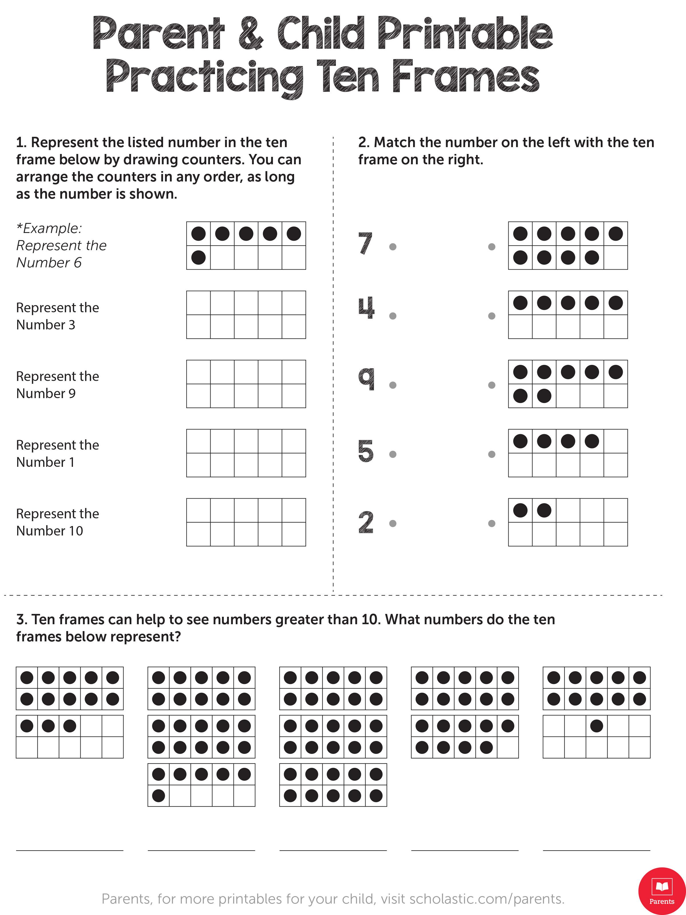 printable practicing ten frames 1 - Ten Frame Activities For Kindergarten