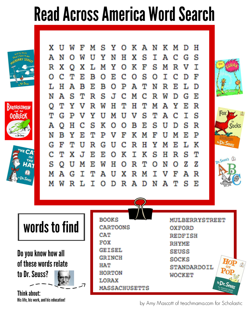 graphic regarding Dr. Seuss Word Search Printable called Dr. Seuss Term Look Worksheets Printables Scholastic