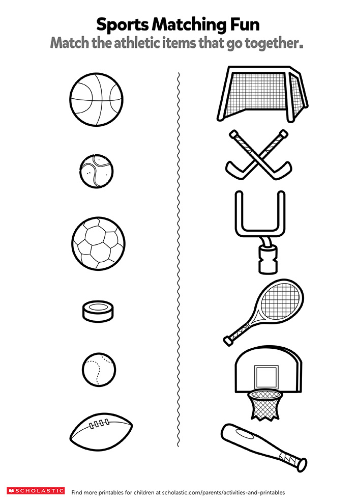 match the sports items worksheets printables scholastic parents. Black Bedroom Furniture Sets. Home Design Ideas