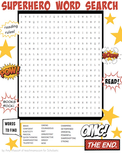 May The Fourth Be With You School Activities: Superhero Word Search