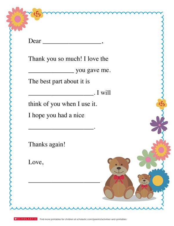 A Homemade Thank You Note Worksheets Printables Scholastic