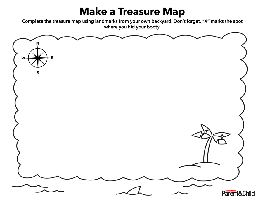 Unusual image inside free printable treasure map