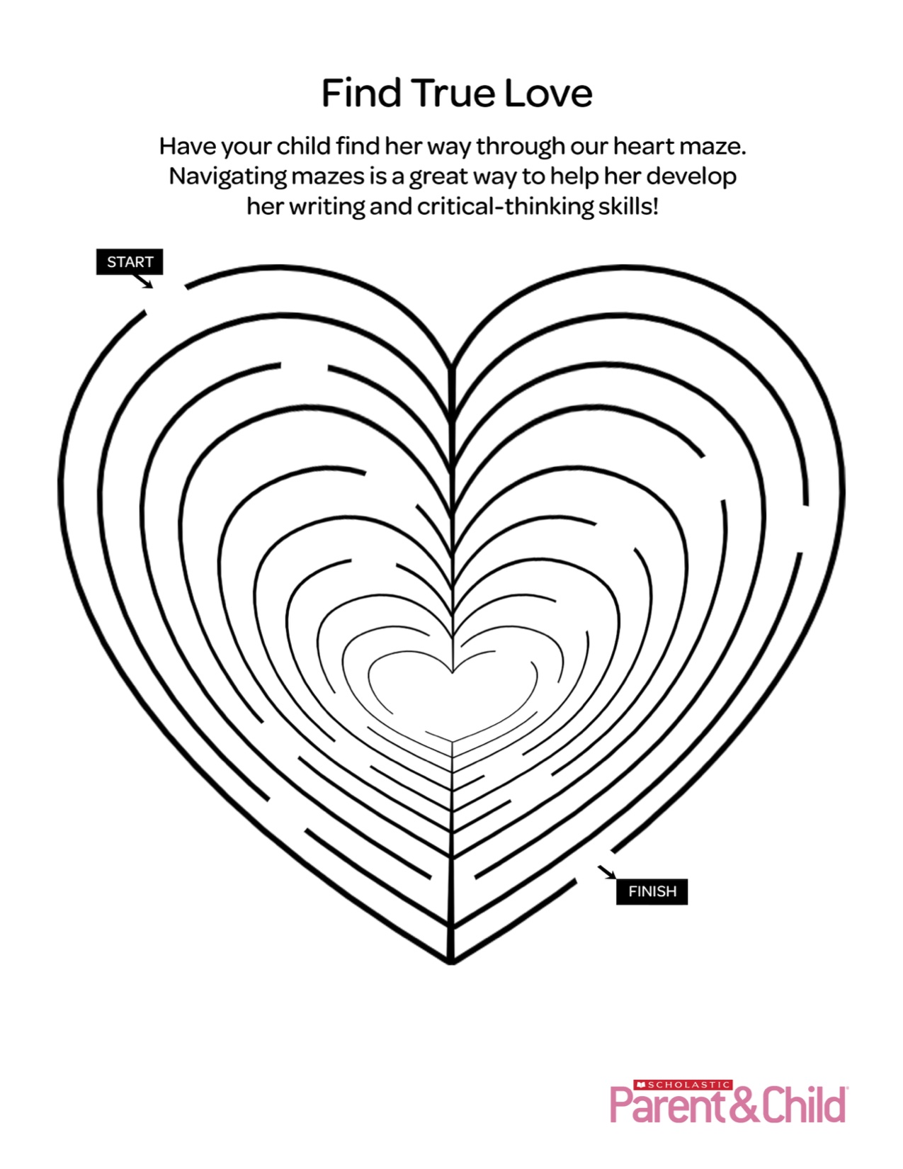 graphic about Valentine Heart Printable identified as Valentine Printable: Middle Maze Scholastic Dad and mom