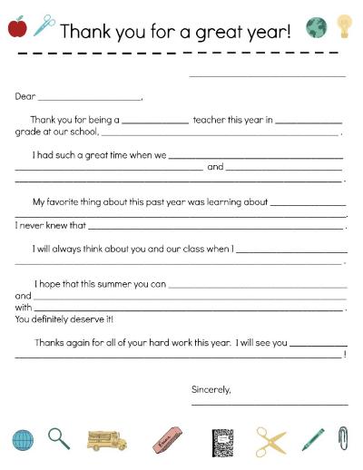 Thank You Letter for Teacher Appreciation Week | Scholastic | Parents
