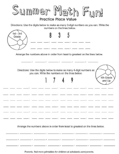 Place Value Summer Fun Printable | Worksheets & Printables ...
