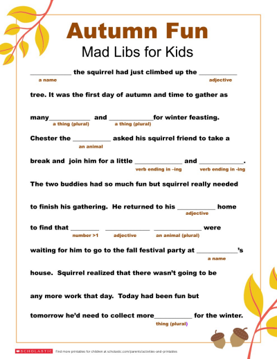Mad Libs Printable For Fall Worksheets Printables