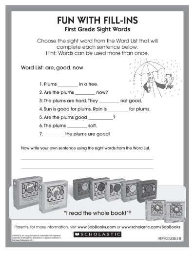 Fill-in-the-Blank with BOB Books | Worksheets & Printables ...