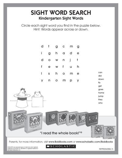 Bob Books Word Search Worksheets Printables Scholastic Parents - Get Beginner Kindergarten Sight Words Worksheets Pdf PNG