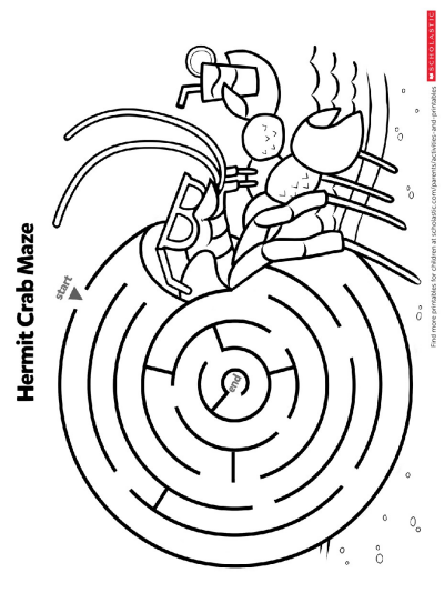 photograph regarding Crab Printable titled Identify The Path During This Crab Maze Worksheets