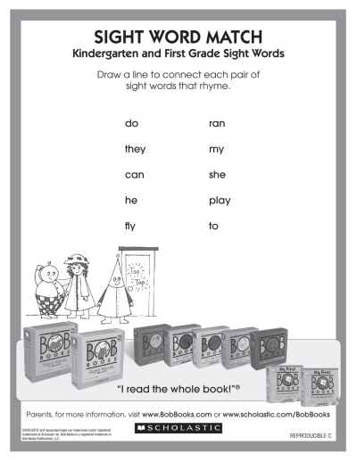 photo relating to First Grade Sight Words Printable called Rhyming with Sight Phrases against BOB Guides Worksheets