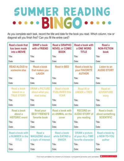 Summer Reading Bingo Printable | Worksheets & Printables ...