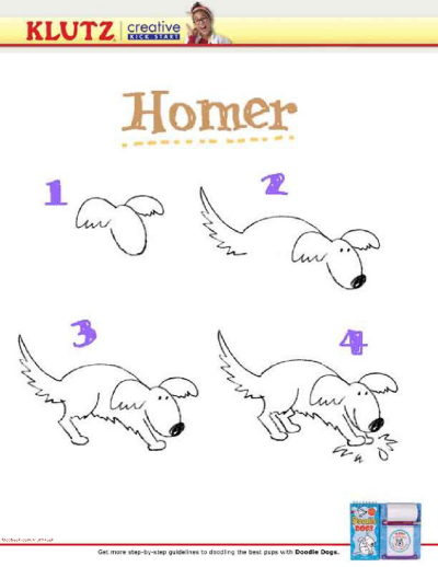 Draw a dog in 4 easy steps