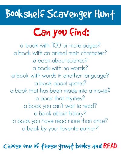 Bookshelf Scavenger Hunt Worksheets Printables Scholastic