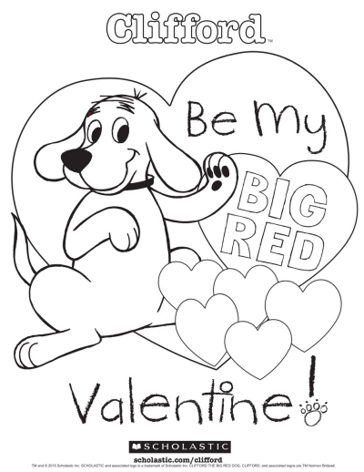 Clifford S My Big Red Valentine Coloring Sheet Worksheets