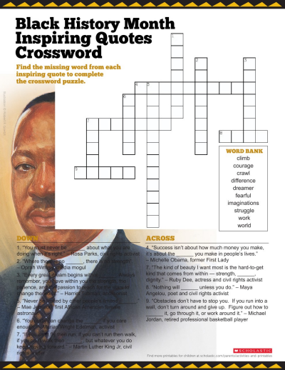 picture regarding Black History Crossword Puzzle Printable known as Crossword Puzzle Printable towards Rejoice Black Heritage Thirty day period