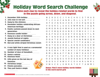 a happy holiday word search worksheets printables scholastic parents. Black Bedroom Furniture Sets. Home Design Ideas