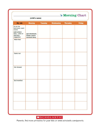 picture regarding Printable Chart referred to as Early morning Agenda Chart Worksheets Printables Scholastic