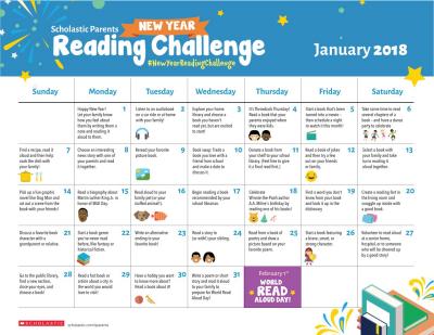 Scholastic Parents New Year Reading Challenge Printable Calendar