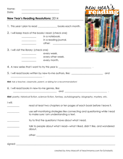 New Year's Reading Resolutions | Worksheets & Printables