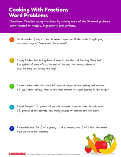 Practice Fractions: Food-Themed Word Problems | Worksheets ...