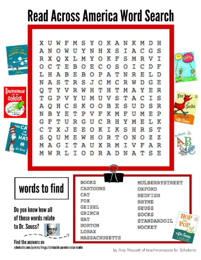 image relating to Dr Seuss Word Search Printable identified as Dr. Seuss Phrase Glance Worksheets Printables Scholastic