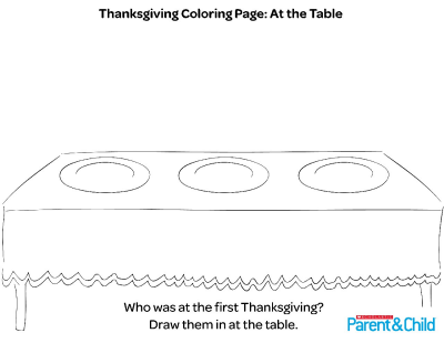 Thanksgiving Printable Coloring Page: At The Table Worksheets & Printables  Scholastic Parents