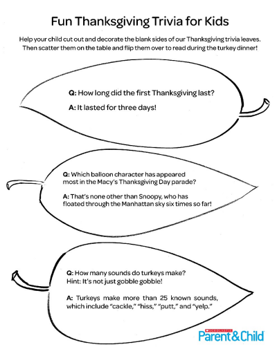 Cut And Color Thanksgiving Trivia Leaves For Kids Worksheets & Printables  Scholastic Parents