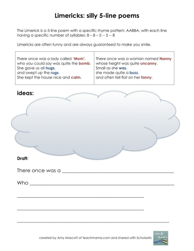 picture regarding Poetry Worksheets Printable known as Limericks: Compose Foolish Poems Worksheets Printables