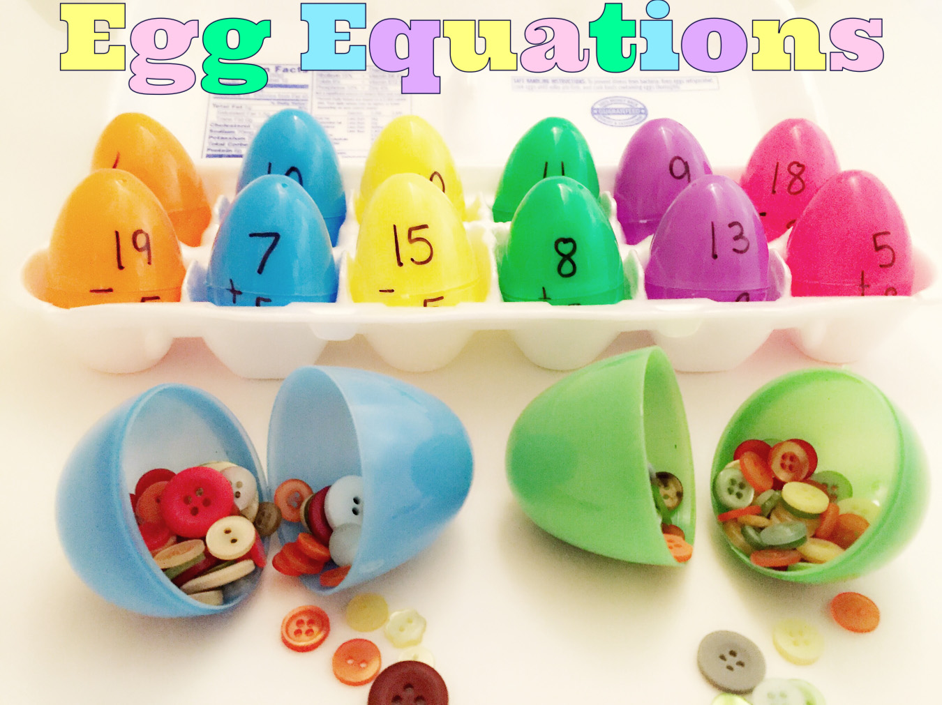 Plastic eggs with addition and subtraction problems on them