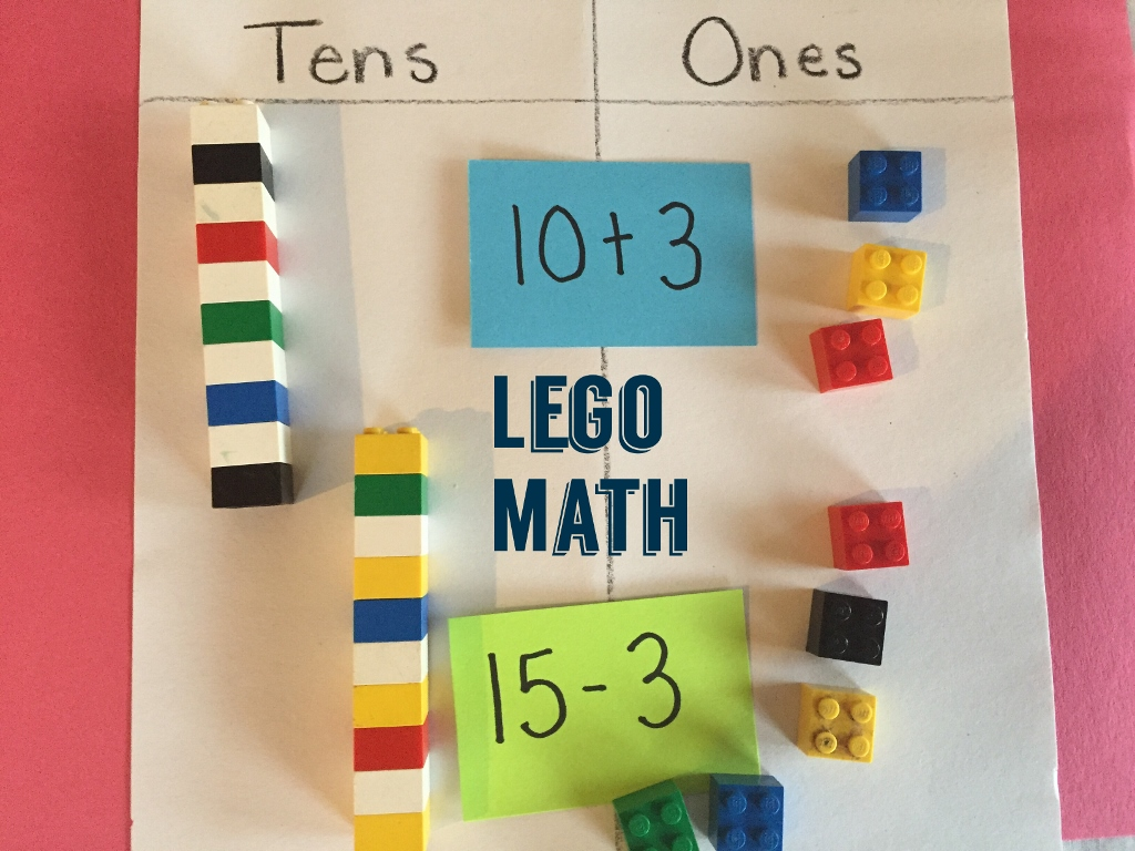 Lego bricks in groups of tens and ones help students add and subtract