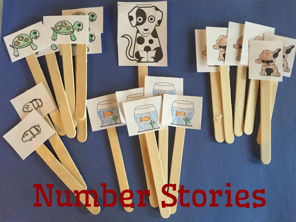 Craft stick puppets for addition and subtraction stories