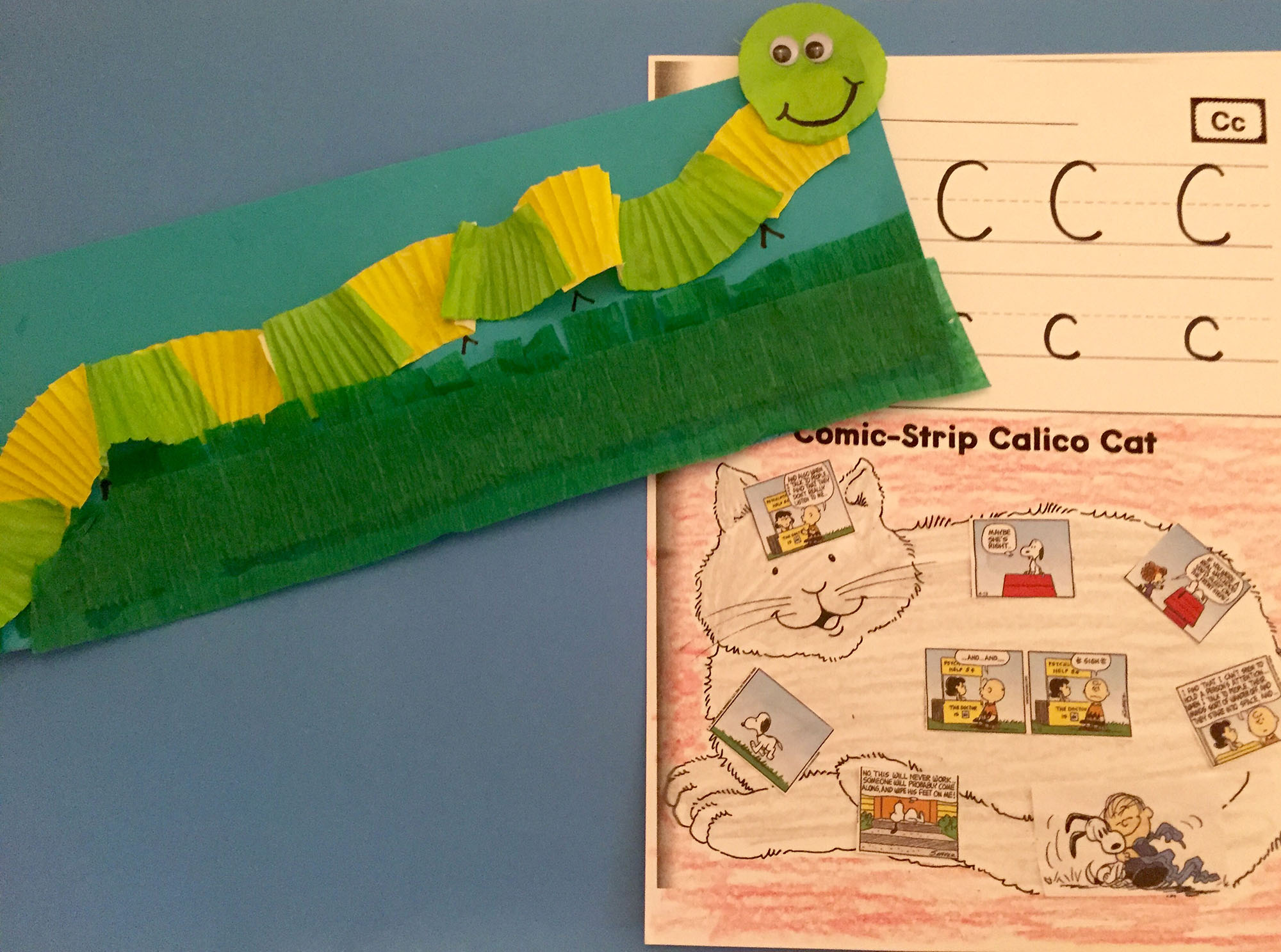 Cupcake-Liner Caterpillar and Comic-Strip Calico Cat