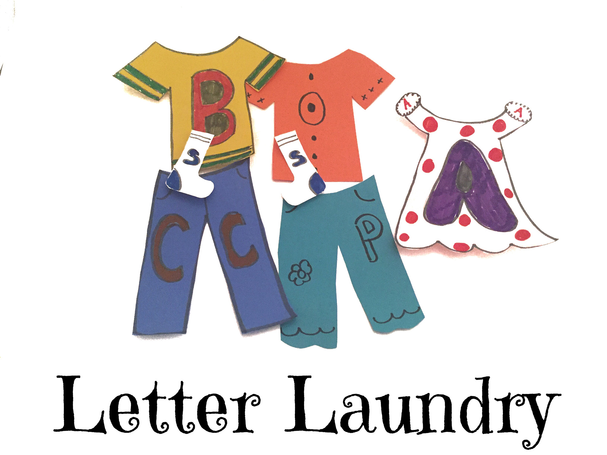 Paper clothes with letters on them