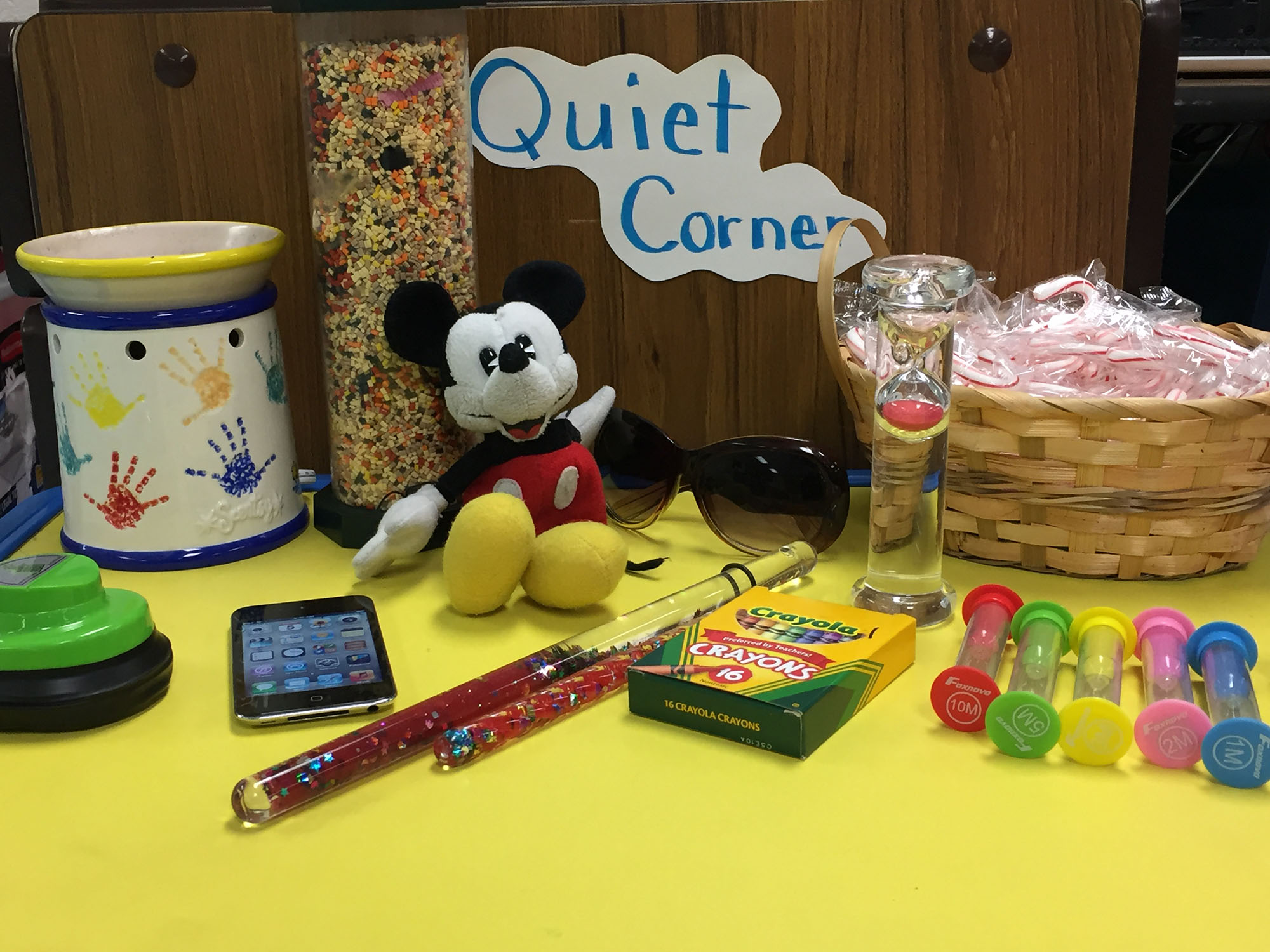 A table with calming items for a break