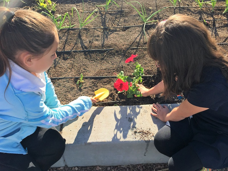 Two girls planting flowers in a garden for Earth Day