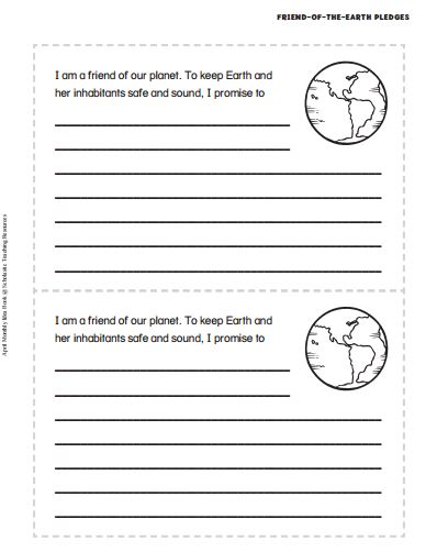 Screenshot of Printable Earth Day Pledges