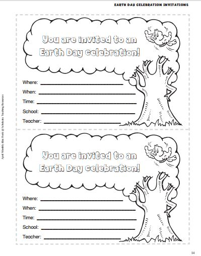 Screenshot of Printable Earth Day Party Invitations
