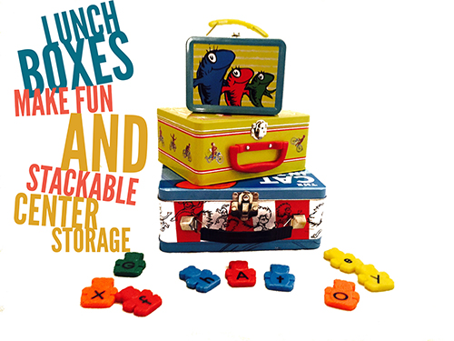 Lunchboxes make fun and stackable center storage