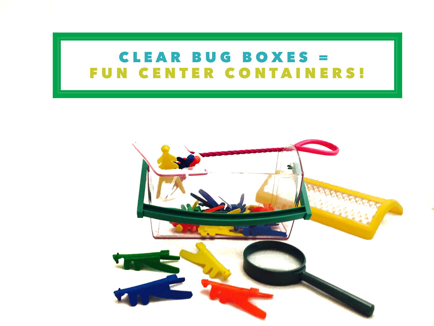 Clear bug boxes = fun center storage