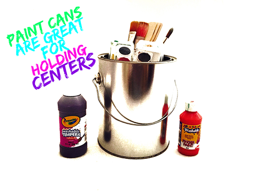 Paint cans are great for holding centers