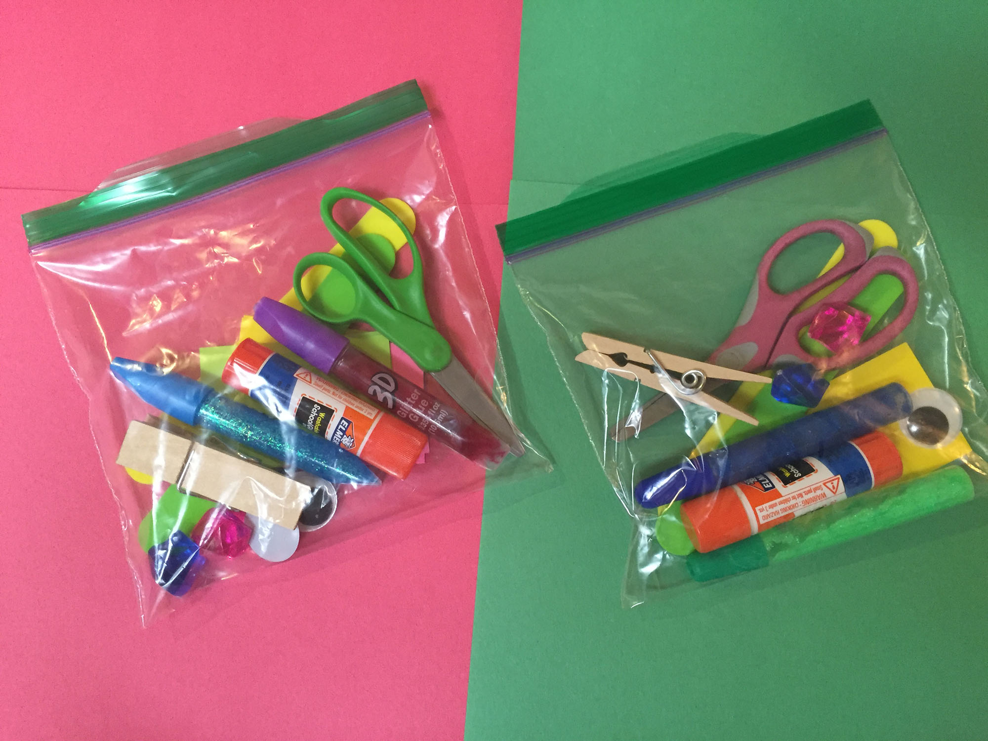 Holiday craft supplies in individual bags