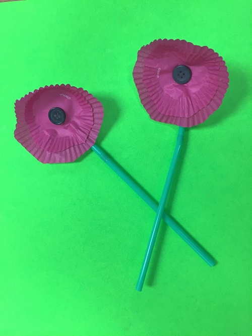 Red Cupcake Liner Memorial Day Poppies