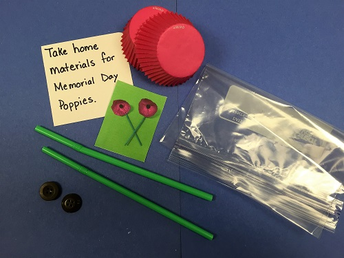 Materials for Making Memorial Day Poppies