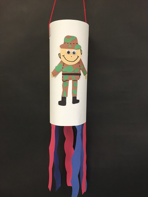 Memorial Day Windsock with a Paper Cut-Out of a Soldier