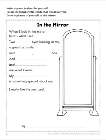 "Scholastic Printables: ""In the Mirror"""