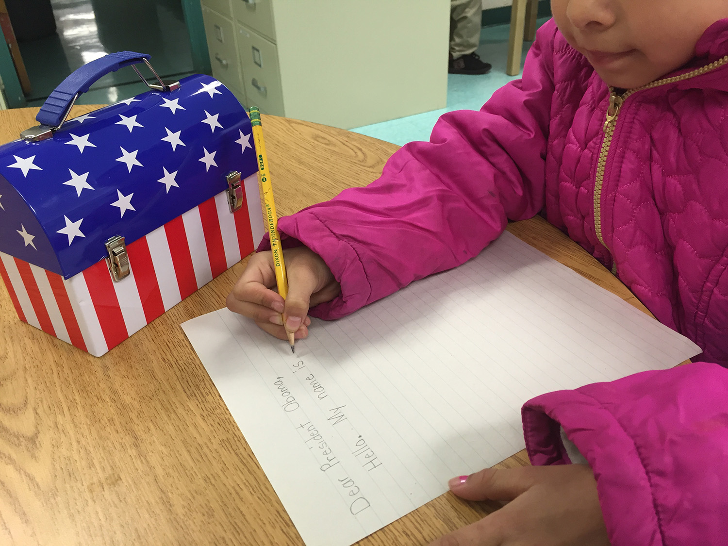 A child writing a letter to the president