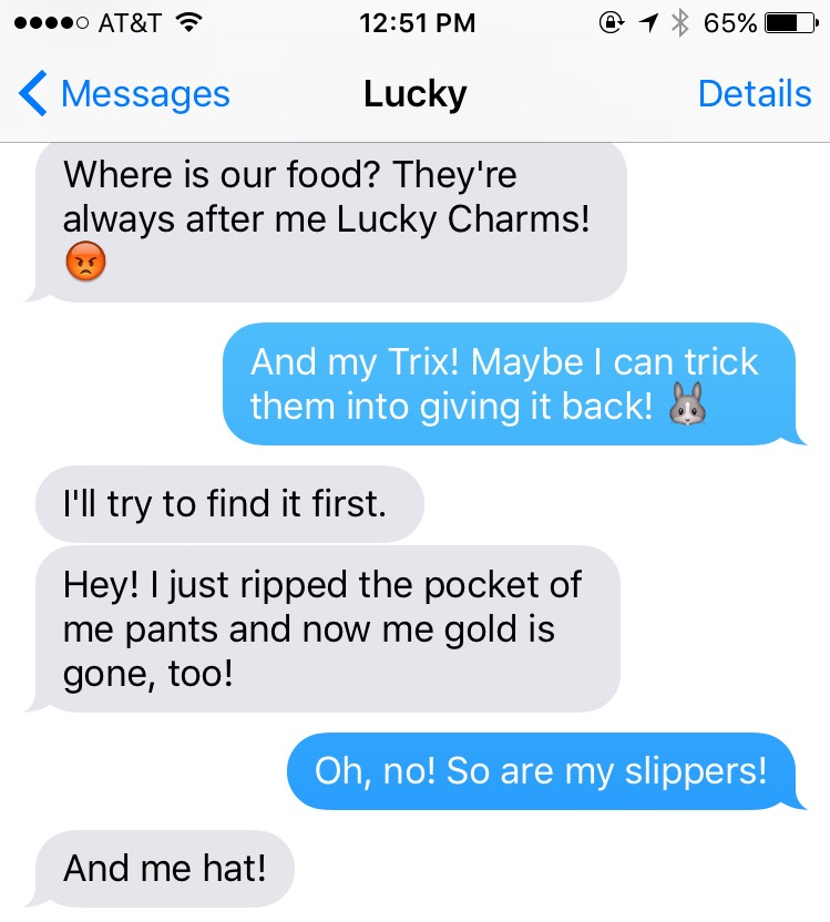Text Messages Between the St. Patrick's Day Leprechaun and the Easter Bunny