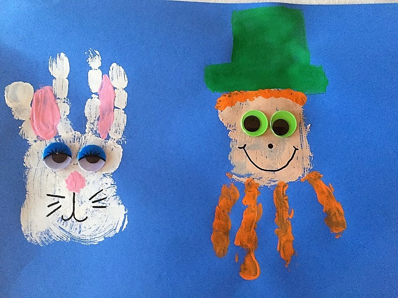 St. Patrick's Day Leprechaun and Easter Bunny Hand Print Art